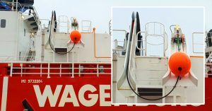 Hot Make Hot Break Mounted to a 45 degree decline chute on Wagenborg's vessel, Kasteelborg